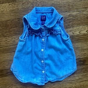 gap toddler button up collared chambray tank top